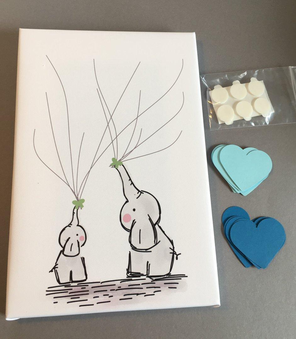 Elefant Leinwand blau Herzen